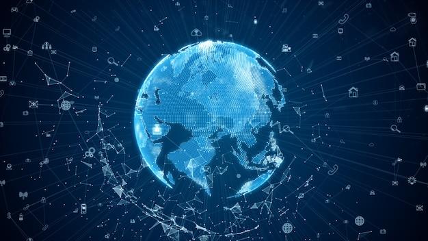Connessioni alla rete di dati digitali con icona e comunicazione globale. 5g di analisi dei dati di connessione ad alta velocità