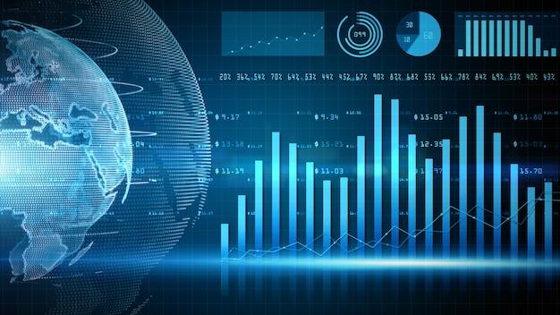 Barre del grafico finanziario digitale delle tendenze degli investimenti finanziari
