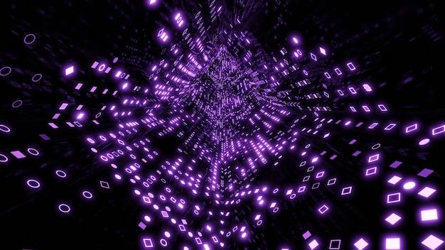 Rendering 3d di tunnel dati futuristici digitali. quadrati e cerchi nel cyberspazio. il concetto di connessione a una rete di computer oa internet.