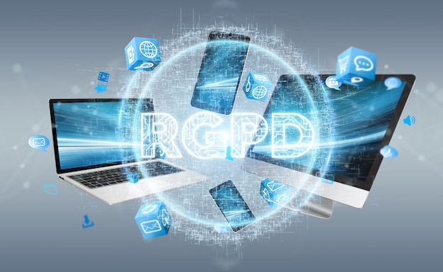 Interfaccia digitale gdpr su dispositivi tecnologici