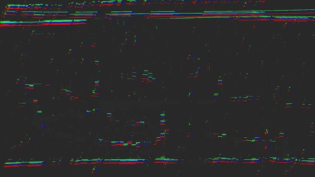 Glitch digitale ed effetti di rumore televisivo statico, effetto visivo di difetti vhs, artefatti e rumore, sfondo retrò. stile di illustrazione 3d elegante e retrò per tema tv e film