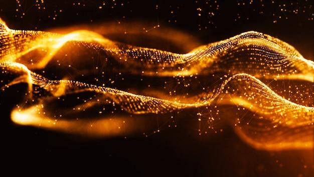 Particelle di colore oro digitale onda e bokeh sfondo astratto