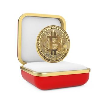 Digital golden cryptocurrency bitcoin coin nella confezione regalo rossa su sfondo bianco. rendering 3d