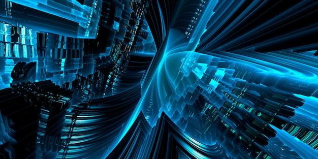 Illustrazione digitale della futuristica macchina del tempo di fantascienza che gira in modalità di lavoro in velocità. rendering 3d.