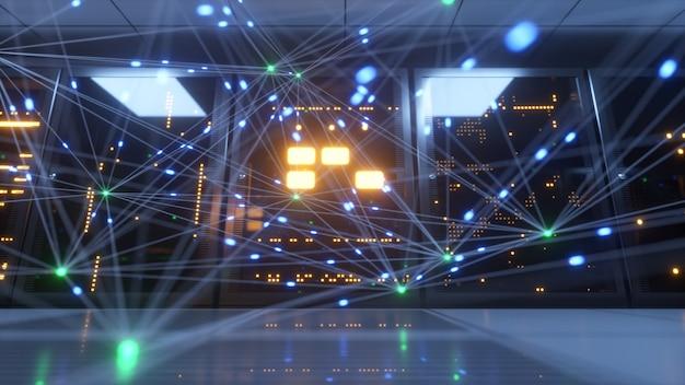 Le informazioni digitali viaggiano attraverso cavi in fibra ottica attraverso la rete e i server di dati dietro i pannelli di vetro nella sala server del data center.