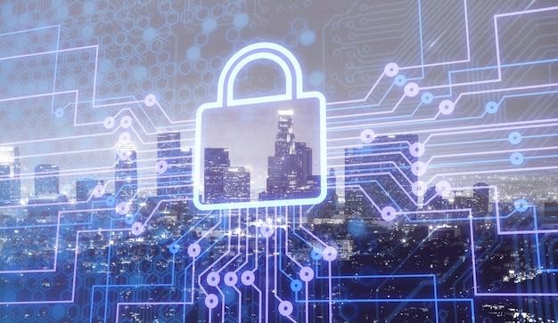Icona del lucchetto digitale e sfondo della città, concetto di sicurezza dei dati