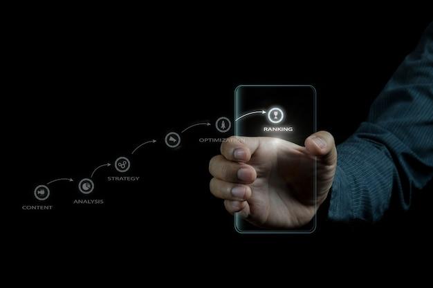 Idea di concetto di foto seo marketing digitale con contenuti speciali infografici Foto Premium