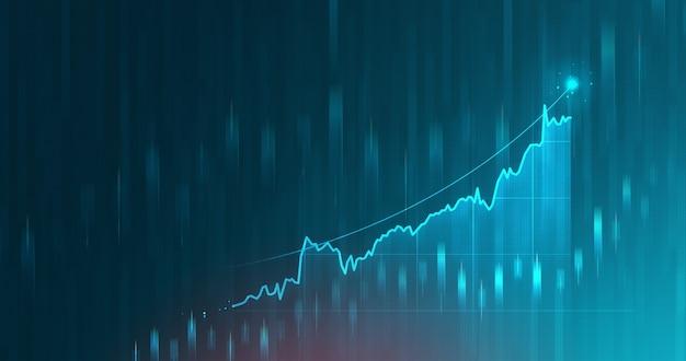 Il movimento digitale del grafico di mercato e il grafico azionario futuristico aziendale o i dati finanziari di investimento traggono profitto sullo sfondo del diagramma di denaro di crescita con informazioni di scambio. rappresentazione 3d.