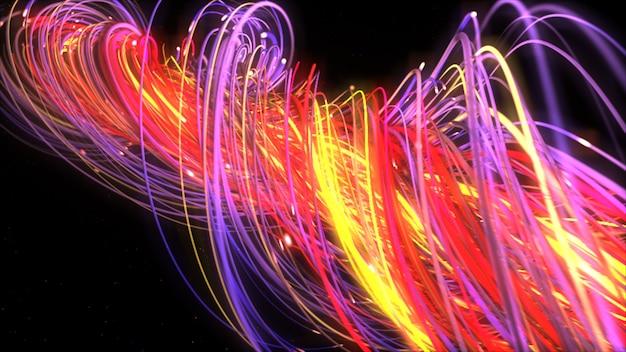 Torsione di linee di stringhe multicolor neon digitali