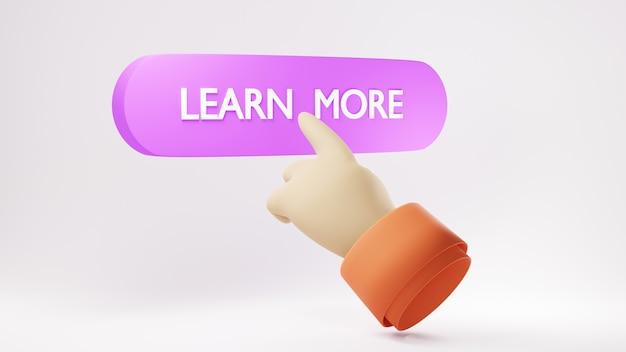 Educazione digitale online. 3d dell'icona impara di più e passa sull'apprendimento sul telefono e sul computer.