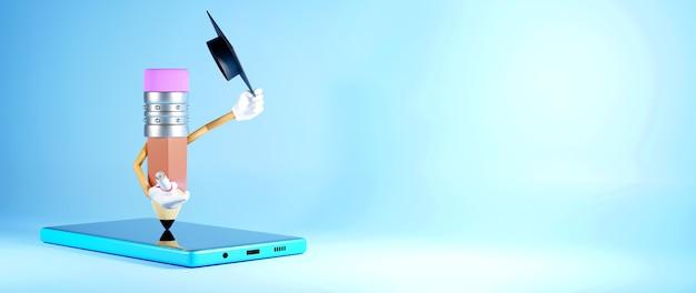 Formazione digitale in linea. 3d di cellulare e matita sull'apprendimento sul telefono, computer.