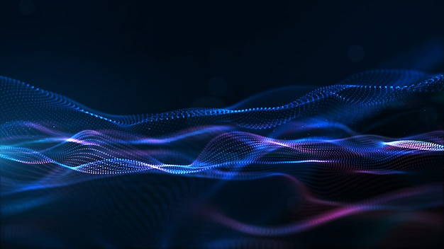 Digital particles wave, sfondo del cyberspazio digitale