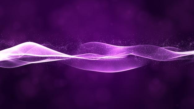 Flusso dell'onda delle particelle di digital con il fondo dell'estratto del bokeh