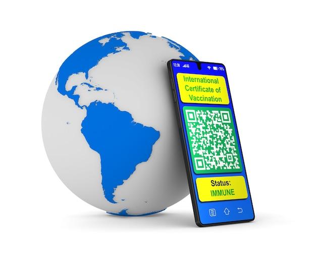 Passaporto digitale della vaccinazione nel telefono isolato su bianco. 3d'illustrazione
