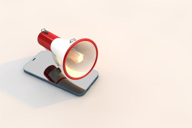Concetto di propaganda digitale, microfono rosso con smartphone.