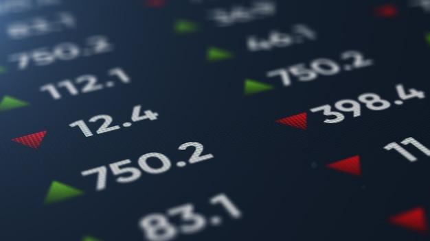 Schermo digitale con statistiche, numero di vendite, percentuale, crescita e calo