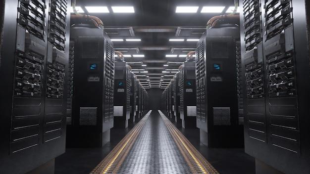 Server digitale in una stanza grunge