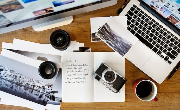 Concetto di modifica di studio di fotografia digitale della compressa