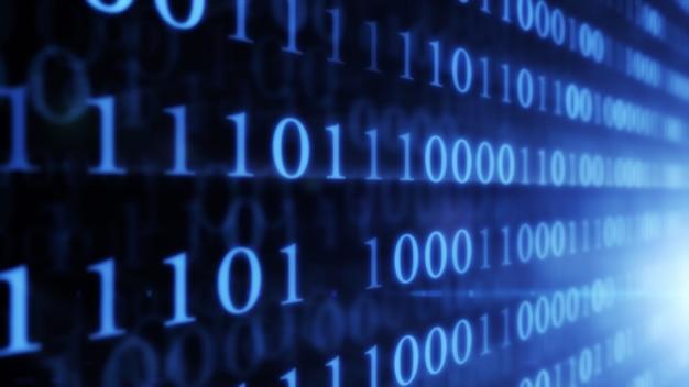 Tecnologie digitali. numeri casuali della parete di codice binario che emettono luce su una priorità bassa nera. illustrazione 3d