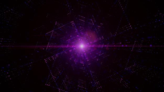 Tunnel digitale del cyberspazio con particelle e illuminazione