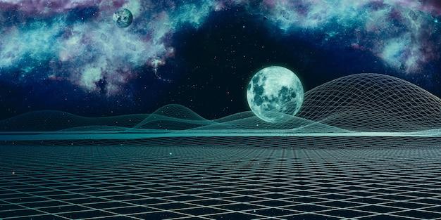 Universo digitale e struttura griglia geometrica dell'universo cielo di fantasia cyberspazio paesaggio