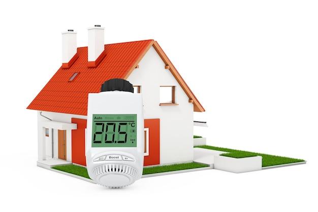 Valvola termostatica digitale del radiatore senza fili vicino alla casa moderna del cottage con il tetto rosso e l'erba verde su un fondo bianco. rendering 3d.
