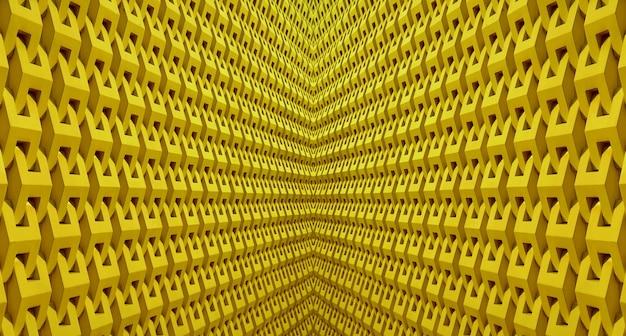 Prospettiva decrescente di una simmetria 3d linee architettoniche in colore giallo