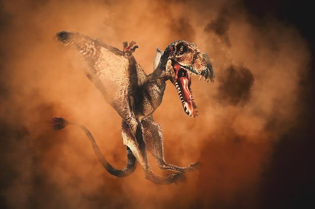 Dinosauro dimorphodon su sfondo di fumo