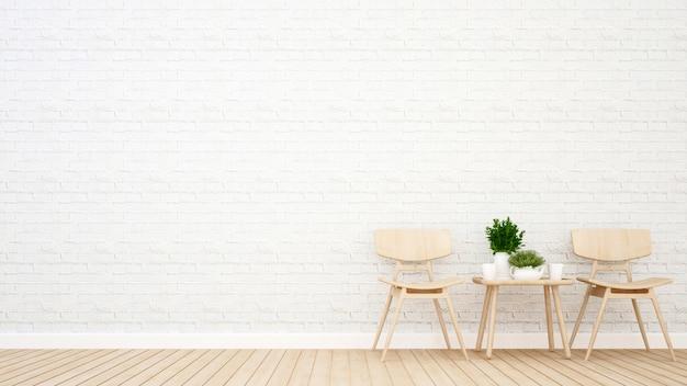 Sala da pranzo nella caffetteria o casa - rendering 3d