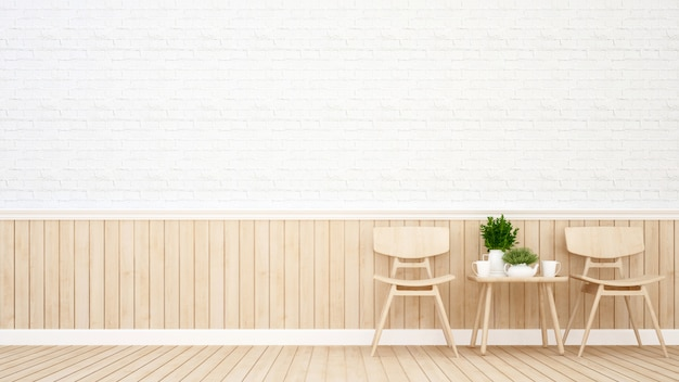 Sala da pranzo nella caffetteria o ristorante - rendering 3d