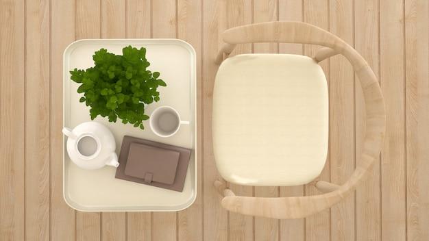 Zona pranzo nella caffetteria o ristorante vista dall'alto - rendering 3d