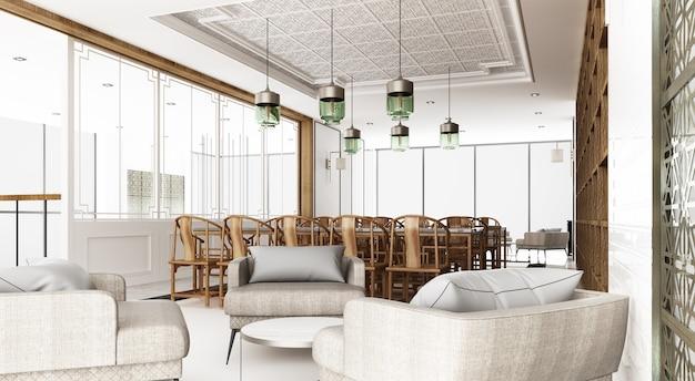 Zona pranzo e sala d'attesa. decora lo stile e il motivo cinesi utilizzando materiali in legno e marmo e poltrona grigia e sedia cinese in legno. rendering 3d