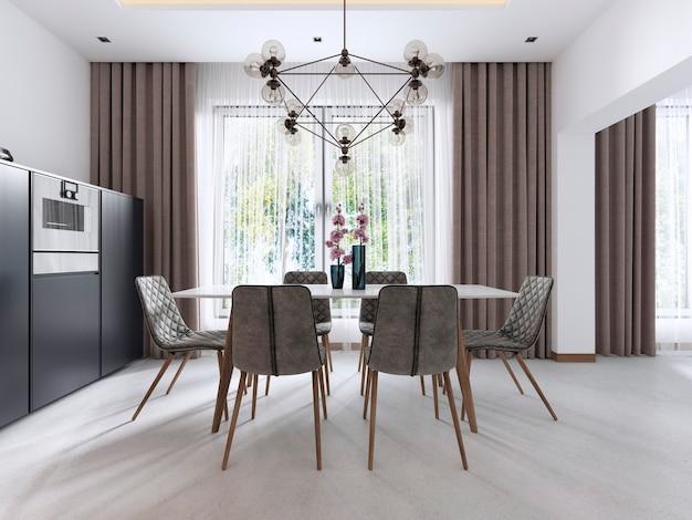 Sala da pranzo in stile contemporaneo con sedie moderne e un tavolo vicino alla grande finestra. rappresentazione 3d.