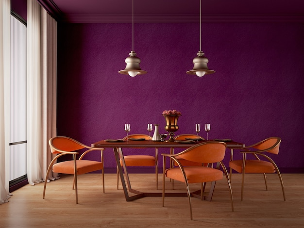 Design della sala da pranzo con sedie da tavolo viola arancioni e pavimento in legno