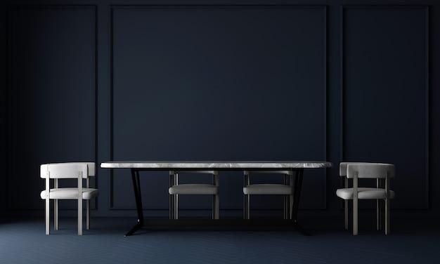 La parete interna della sala da pranzo si modella in neutri caldi con decorazioni in stile accogliente su sfondo blu vuoto della parete g