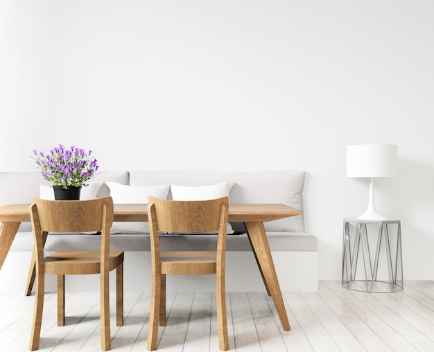 Lo spazio della copia del salone o della sala da pranzo e deride su su fondo bianco, la vista frontale, la rappresentazione 3d