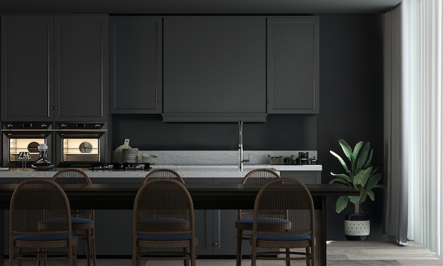 Sala da pranzo e dispensa interna e sfondo nero con motivo a parete