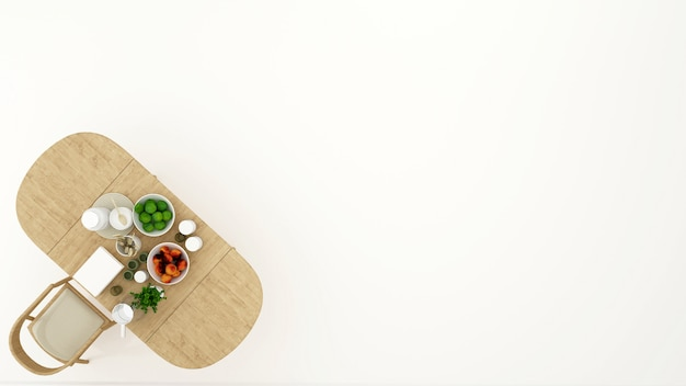 Design minimale vista sala da pranzo o dispensa - rendering 3d