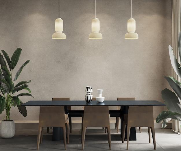Sala da pranzo con tavolo nero e sedie marroni, rendering 3d, mockup di muro, mockup di frame
