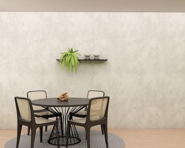 Sala da pranzo con parete in cemento bruciato pavimento in legno tappeto geometrico tavolo rotondo e sedie mensola con decori e pianta