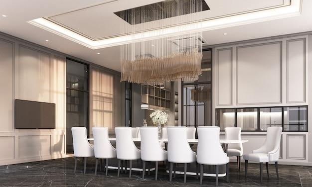 Sala da pranzo con la sedia e la tavola pranzanti sul pavimento di marmo nero e sulla rappresentazione classica della parete e del soffitto 3d della decorazione dell'elemento