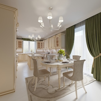 Sala da pranzo con grande tavolo e comode sedie, rendering 3d