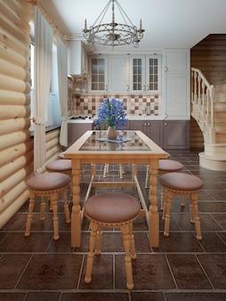 Tavolo da pranzo e sedie vicino alla finestra all'interno di uno stile di registro