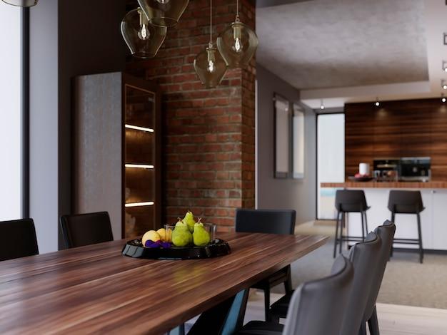 Tavolo da pranzo con decoro, piatto frutta nero. sala da pranzo in stile moderno in design loft. rendering 3d.
