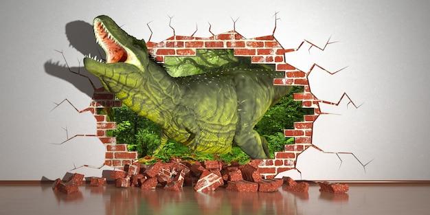Dinosauro che striscia da una faglia nel muro, illustrazione 3d