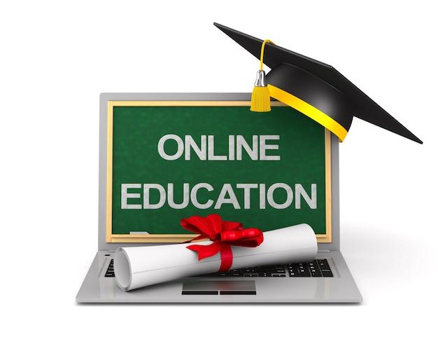 Diploma, laptop e berretto di laurea su bianco