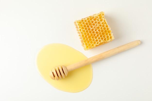 Merlo acquaiolo in pozza di miele e favo su bianco Foto Premium