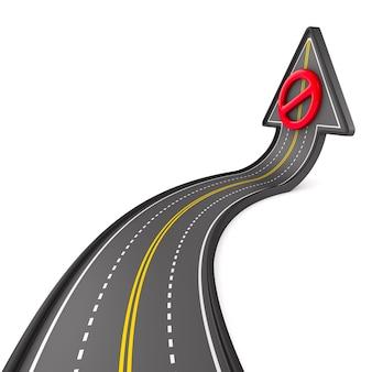 Direzione della strada su uno spazio bianco. illustrazione 3d isolata