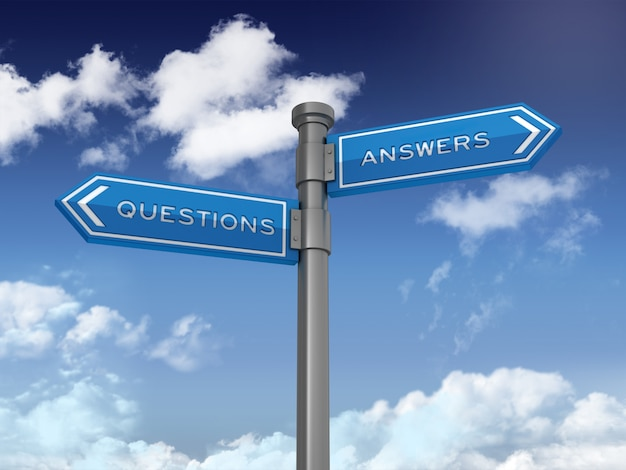 Cartello direzionale con domande e risposte sul cielo blu