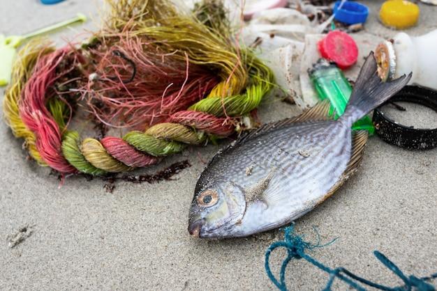 Spiaggia sporca dall'ambiente problematico dell'immondizia di plastica.